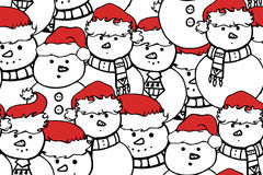 Seamless black and white texture with doodle snowman Stock Photos