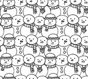Seamless black and white texture with doodle snowman Royalty Free Stock Photos