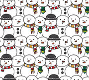 Seamless black and white texture with doodle snowman Stock Photo