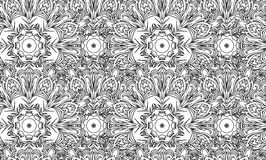 Seamless black and white texture with a tribal floral pattern Royalty Free Stock Images