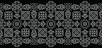 Seamless black and white tribal border royalty free stock photography