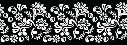 Seamless black and white tribal floral border stock photos