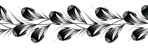 Seamless black and white tulip floral border Royalty Free Stock Photos