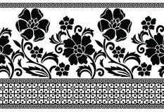 Seamless black and white vector floral border Stock Images