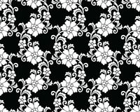 Seamless black and white vector floral pattern Stock Photo