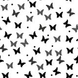 Seamless black-and-white vector pattern with butterflies royalty free illustration