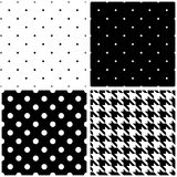 Seamless black and white vector pattern or tile background set Royalty Free Stock Image