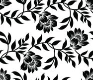Seamless black and white vector textile floral pattern Stock Image