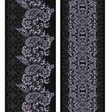 Seamless black and white vertical lace pattern with paisley. Vector set of 2. Stock Images