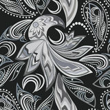 Seamless  black and white vintage pattern with paisley and  birds. Vector background. Royalty Free Stock Photography