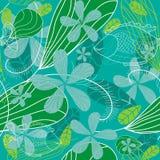 Seamless blom- bakgrund med fisken royaltyfri illustrationer