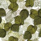 Seamless blom- bakgrund med treeleaves Arkivbild
