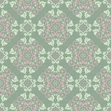 seamless blom- modell Bakgrund för olivgrön gräsplan med gräns - rosa färger blommar beståndsdelar