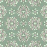 seamless blom- modell Bakgrund för olivgrön gräsplan med gräns - rosa färger blommar beståndsdelar Fotografering för Bildbyråer