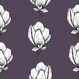 seamless blom- modell Blomma magnolian p? en gr? bakgrund Tryck f?r tyg och andra yttersidor Teknologibakgrund, fr?n det b?sta be royaltyfri illustrationer
