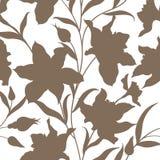 seamless blom- modell Blommaslihouettebakgrund Blom- si Arkivfoton