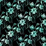 seamless blom- modell Delikat turkos blommar, sidor på en svart bakgrund Royaltyfri Fotografi