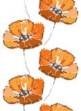 seamless blom- modell Den orange vallmo blommar på den vita bakgrunden Arkivbilder