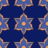seamless blom- modell Djupblå och för apelsin 3d designer Arkivbilder
