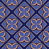 seamless blom- modell Djupblå och för apelsin 3d designer Royaltyfria Bilder