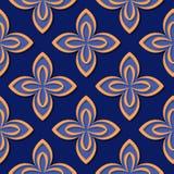 seamless blom- modell Djupblå och för apelsin 3d designer Arkivbild