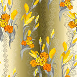 seamless blom- modell Gul svärdsliljablommabakgrund Fotografering för Bildbyråer