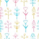 seamless blom- modell Härlig dragen textur för vektor hand Stock Illustrationer