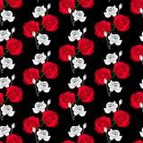 seamless blom- modell Härliga vävblommor steg på svart b Arkivbild