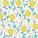seamless blom- modell Hand drog idérika blommor Färgrik konstnärlig bakgrund med blomningen Abstrakt ört Fotografering för Bildbyråer