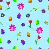 seamless blom- modell Hand målad tusenskönor och tulpanplommon Ljus vattenfärgillustration Färgrika blommaslutägg på blått Royaltyfria Foton