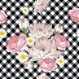 seamless blom- modell Krysantemum, kamomillar och rosor på svartvit gingham, kontrollerade bakgrund vektor illustrationer
