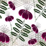 seamless blom- modell Ljusa exotiska blommor på en ljus bakgrund med horisontalband Royaltyfria Foton