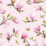seamless blom- modell Magnoliablomma- och sidabakgrund Fotografering för Bildbyråer