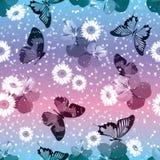 seamless blom- modell Pansies med kamomillar, buttrflies på gnistranderosa färger och blåttbakgrund också vektor för coreldrawill Royaltyfria Foton