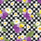 seamless blom- modell Pansies med kamomillar på svartvit gingham, rutig bakgrund också vektor för coreldrawillustration royaltyfri illustrationer