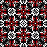 seamless blom- modell Röda och vita beståndsdelar på svart bakgrund