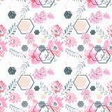 seamless blom- modell Rosa färgen blommar, geometriska former på en vit bakgrund Fotografering för Bildbyråer