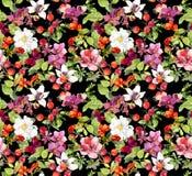seamless blom- modell Sommarsidor, blommor mörk paper vattenfärgyellow för forntida bakgrund Arkivfoton