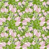 seamless blom- orchids för bakgrund stock illustrationer
