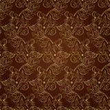 Seamless blom- tappning mönstrar på brun bakgrund Arkivfoton