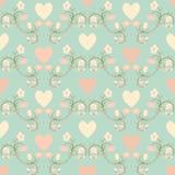Seamless blomma- och hjärtabakgrund Stock Illustrationer