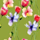 seamless blommamodellvallmo royaltyfri illustrationer