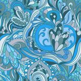 Seamless blue abstract hand-drawn waves pattern Stock Images
