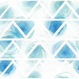 Seamless blue and aqua pattern based on white watercolor paper and hand drawn with brush and liquid ink circles in triangle textur Stock Photo