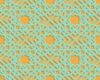 Seamless blue arabic geometric pattern on orange background. Abstract arabic seamless geometric pattern. Arabic ornament. Islamic design. Oriental style Stock Photos