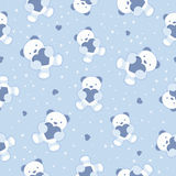 Seamless Blue Baby Background with teddy bear and  Stock Photos