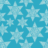 Seamless blue background with decorative stars. Textile rapport Stock Photo