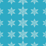 Seamless blue background with decorative stars. Textile rapport Stock Photos