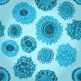 Seamless blue background with flowers Royalty Free Stock Photos
