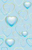 Seamless blue background with hearts for wrapping Royalty Free Stock Photos